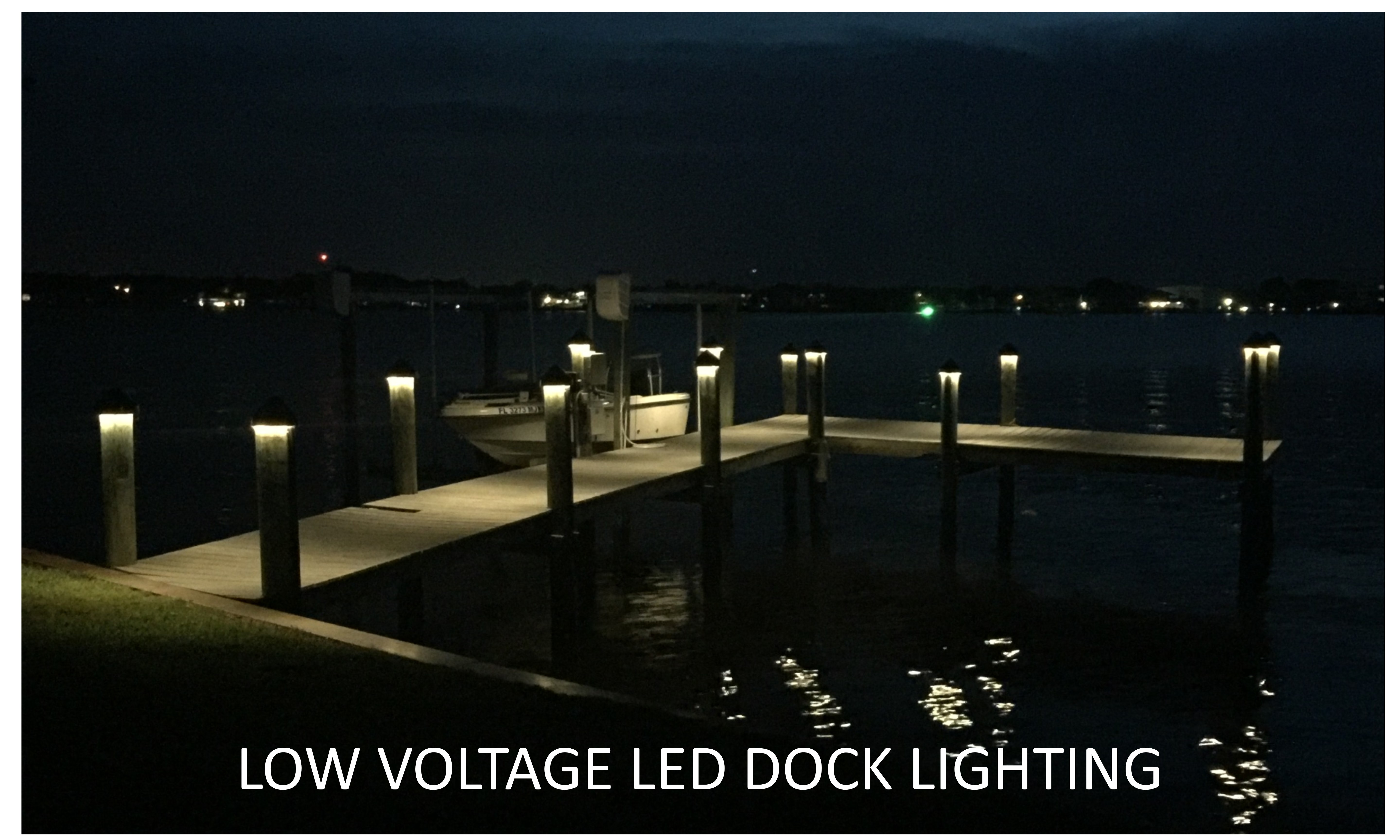 This is a photo of a dock lighted using low voltage LED dock lights.